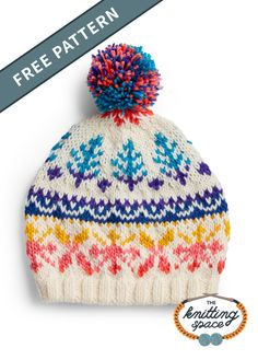 The Candy Coated Fair Isle Hat Pattern cleverly uses white yarn against a rainbow striped yarn for an interesting effect. Fair Isle Knitting Patterns, Christmas Knitting Patterns, Fair Isle Pattern, Hat Patterns, Stitch Patterns, Knitted Blankets, Knitted Hats, Pom Pom Hat, Free Knitting