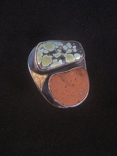 spoonmakers's blog   e-bu Jewelry - Contemporary Primitive Jewelry  GOLDEN SHORES, Terracotta shard with turquoise and gold leaf on adjustable sterling ring.