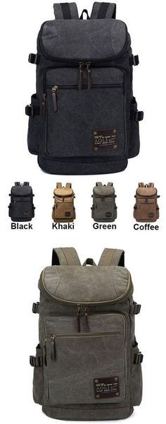 Retro Zipper Men's Canvas Travel Backpack Large Capacity Camping Bag School Laptop Backpack for big sale ! Best Laptop Backpack, Lace Backpack, Backpack For Teens, Travel Backpack, Backpack Bags, Leather Backpack, Fashion Backpack, Retro Backpack, Camping Rucksack