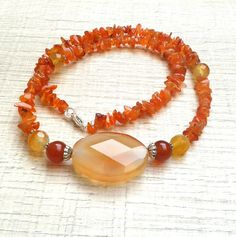 SPECIAL OFFER Orange Gem Beaded Choker by AngelSCollection on Etsy