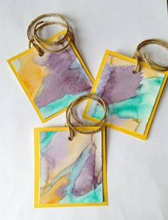 Set of 3 Watercolor Tags Hand Painted Gifts Twine by CLMEmporium