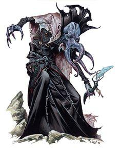 Mind flayer - art by Wayne Reynolds Dark Fantasy, Fantasy Rpg, Hp Lovecraft, Cthulhu, Fantasy Artwork, O Kraken, Aliens, Wayne Reynolds, Mind Flayer