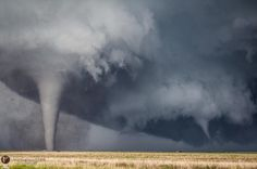 Sister tornadoes from yesterday near Dodge City,