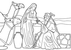Rebecca at the well with Abraham's servant. Bible coloring page