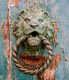 On the island of Murano, Italy Venezia Veneto by Andrea Hoag. They need to have Murano glass eyes on this door knocker! Door Knobs And Knockers, Knobs And Handles, Door Handles, Lion Door Knocker, Cool Doors, Unique Doors, Door Detail, Door Furniture, Windows And Doors