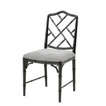 Make your dining table stand out with the Infinity Dining Chair. Featuring a faux bamboo frame with piano black lacquer finish and intricate detailing, this distinctive dining chair with Dixon black & white houndstooth upholstery will add an o. White Dining Chairs, Dining Room Chairs, Side Chairs, Kitchen Chairs, Dining Table, Accent Chairs, Black Chairs, Kitchen Dining, Upholstered Furniture