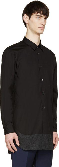 Comme des Garçons Homme Plus Black Wool-Trimmed Shirt