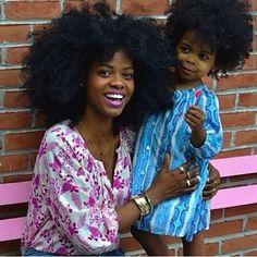Mother and daughter natural hair twins. So cute.