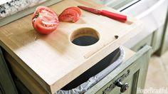 Bin below cutting board - Unique Kitchen Storage Ideas - Kitchen Organization Tips - House Beautiful Clever Kitchen Storage, Smart Kitchen, Kitchen Organization, New Kitchen, Texas Kitchen, Kitchen Ideas, Kitchen Counters, Kitchen Island, Countertop