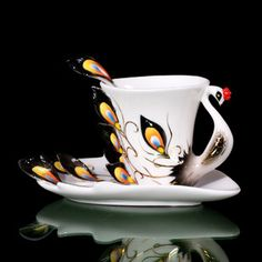 Valentine's Day Gifts- Peacock Design Ceramic Cup for Coffee or tea