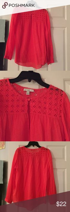 J crew sheer red top J crew sheer red top. 100% cotton. Bottom at the top in the front. Slit at the top. J. Crew Tops Blouses