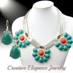 Statement necklace set Fabulous flower cluster, statement necklace set Jewelry Necklaces