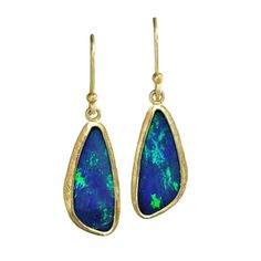 Petra Class Blue Green Australian Opal Gold Doublet Handmade Dangle Drop Earring | From a unique collection of vintage dangle earrings at https://www.1stdibs.com/jewelry/earrings/dangle-earrings/