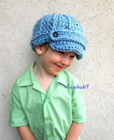 Blue Newsboy Hat Brimmed Crochet Toddler Boy Hat by YumbabY, $28.95