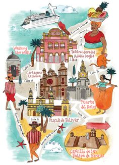Map of Cartagena for National Geographic Traveller. Copyright Tilly aka Running… Travel Maps, Travel List, Travel Posters, Colombia Map, Colombia Travel, Central America, South America, Cartegena Colombia, Romancing The Stone
