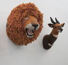 Amigurumi - crocheted animals by Nathan Vincent Crochet Taxidermy, Faux Taxidermy, Art Au Crochet, Crochet Toys, Knit Art, Knit Crochet, Art Yarn, Knitted Animals, Yarn Animals