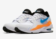 Perfect Off White X Off Nike Air Max 93 OG Nebula Blue Total Orange 306551 104 Trainers Men's Lifestyle Running Shoes #306551 104