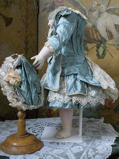 ~~~ Marvelous French BeBe Silk Costume with Bonnet ~~~