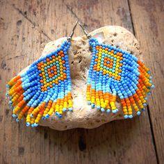 Colorful ethnic earrings Ethnic jewelry Ethnic by HappyBeadwork