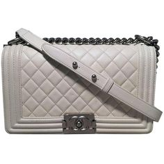 bb0317080f1f Preowned Chanel White Quilted Le Boy Classic Flap Shoulder Bag ( 4