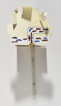 """Richard Tuttle, """"Section IV, Extension H."""" (2007) Paper, acrylic, graphite, hot glue, wood, hammered armature wire and screws.    """"it's easy to forget that all his materials are permanently fixed. It's as if the works are alive and awaiting further manipulation or interaction—like tentatively thriving plants that still yearn for their touchy-feely, conversational gardener."""""""