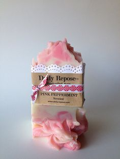 PINK PEPPERMINT SOAP Handmade Soap Bar  Natural  Vegan Cold Process Soaps on Etsy, $6.00 #christmas