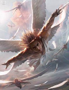 "Zadkiel, Deity of Justice - for ""Legend Of The Cryptids"" (LOC) - Unknown Artist Dark Fantasy Art, Fantasy Angel, Fantasy Kunst, Fantasy Artwork, Male Angels, Angels And Demons, Angel Artwork, Angel Warrior, Mythical Creatures"