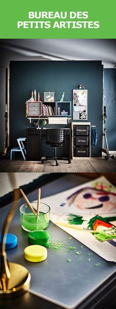 La semaine de relâche : idéale pour libérer la créativité ! Créez un atelier où les enfants auront libre accès aux fournitures et prévoyez beaucoup d'espace pour la réalisation de leurs œuvres d'art. Pensez à suspendre un rouleau de papier dessin MÅLA sur une tringle à rideaux SANNOLIKT, et fiez-vous au sous-main PRÖJS pour protéger la surface de travail. Pour touver l'inspiration : #IKEAIDEE