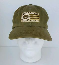 Green Bay Packers Hat Strapback Distressed Green and Yellow Adjustable