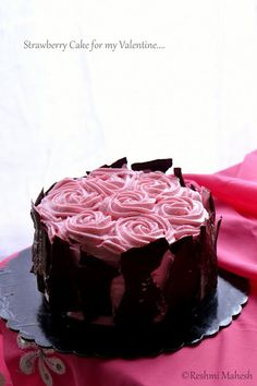 Easy Cook: Strawberry Cake I really just love the chocolate on the outside so it covers your mess up of icing. Melt chocolate bark, spread on parchment paper, freeze and cut. Chocolate Bark, Chocolate Shavings, Melting Chocolate, Pretty Cakes, Cute Cakes, Beautiful Cakes, Cake Cookies, Cupcake Cakes, Elegant Cakes