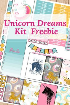 Free Unicorn Dreams Printable Planner Stickers for Happy Planner.