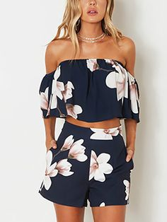 Floral Print Flounced Off Shoulder Cropped Twinset