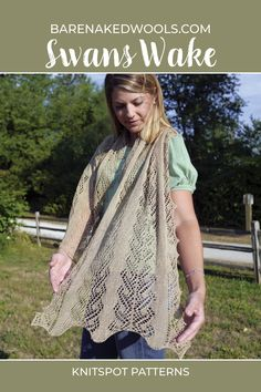 This elegant rectangular stole in three sizes (scarf/petite stole/tall stole) has a fluid drape that recalls rippling water with each movement. The lace panel at the center has an intricate appearance, but is simple to work and is echoed at the sides by a beautiful shaped edging—or choose a simple garter edging for a more tailored finish. All in all, a piece with options, to slide over the shoulders of a summer dress or accent a beautiful suit fabric in fall and winter. Lace Knitting Patterns, Beautiful Suit, Suit Fabric, Knitting Accessories, Knitted Shawls, Mulberry Silk, Needles Sizes, Shawls And Wraps, Garter