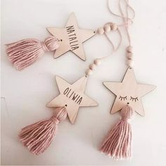 Nordic Style Cute Star Shape Wooden Beads Tassel Pendant Kids Room Decor Wall Hanging Ornament for Photography, Diy, Decor Crafts, Diy And Crafts, Crafts For Kids, Diy Decoration, Tree Crafts, Diy Christmas Tree, Christmas Ornaments, Clay Crafts, Paper Crafts