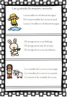 Comprensión lectora de oraciones sencillas -Orientacion Andujar Spanish Lessons, Learning Spanish, Professor, Spanish Language, Activities For Kids, Kindergarten, How To Plan, Education, Comics
