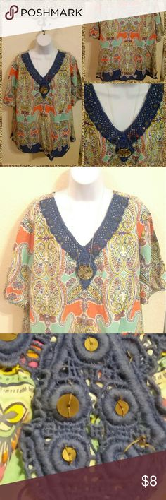 Liz&Me Gorgeous Cotton Boho Top ~  3X 26/28 Plus Beautifully multi-color 100% cotton top by Liz & Me Platinum Collection in size 3X 26/28. In good pre-owned condition but does have one sequin missing from front as seen in photo. Could be easily replaceabled, not very noticeable unless up close. I believe this top does run a tad small,  should be a good fit for 2X or 22-24 as well. Liz & Me Tops Blouses