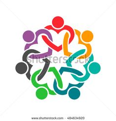 People Heart Group Teamwork Logo. Vector graphic design illustration