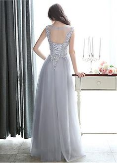 Buy discount Beautiful Tulle Jewel Neckline Cut-out A-line Prom Dresses With Beaded Lace Appliques & Pleats at Dressilyme.com