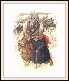 "Bunnies in Winter #2 by Beatrix Potter Art Print 8 x 10"""
