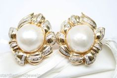 18K Yellow Gold Pearl Earrings With Round Pave Diamond Accents