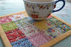 Quilted Postage Stamp  Mug Rug Snack Mat Mini Quilt by swingkitten, $14.00
