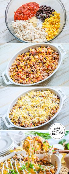 CRAZY EASY Mexican Chicken Casserole · Easy Family Recipes - Meals To Make - Kids FAVORITE Dinner! This Mexican Chicken Casserole has all of your favorite Mexican flavors in one - Easy To Make Dinners, Easy Family Meals, Family Recipes, Easy Meals, Kid Meals, Mexican Chicken Casserole, Chicken Cassarole, Healthy Chicken Casserole, Casserole Recipes