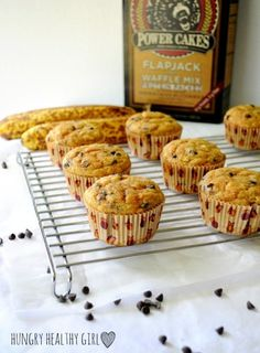 Banana Chocolate Chip Power Cakes- Super moist protein-packed banana muffins with no oil or butter.