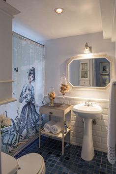 Love the shower curtain. Boho treetop house - eclectic - Bathroom - Other Metro - Shannon Ggem ASID