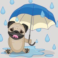 Cão Pug com guarda-sol - ilustração de arte em vetor