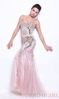 Long Spaghetti Strap Sequin Dress