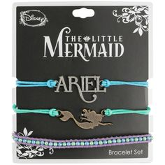 Disney The Little Mermaid Cord Bracelet Set ($8.40) ❤ liked on Polyvore featuring jewelry, bracelets, multi, charm bangles, multi color jewelry, tri color bangles, multi colored jewelry and tri color jewelry