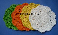 Crochet Pattern Flower Coasters Digital Download by TimeForCrochet, $3.00