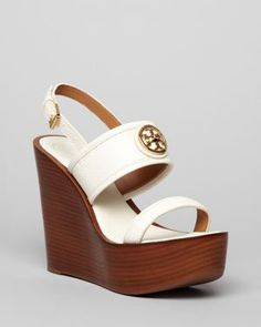 White Tory Burch wedges