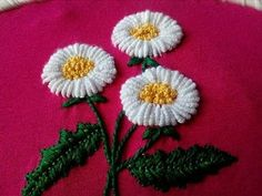 Double Color Thread Daisy Flowers with Lazy Daisy StitchIn this video you can learn how to hand embroider a marguerite daisy flower in Bullion stitch. In a very easy way, you can make this beautiful embroidery to . Bullion Embroidery, Basic Embroidery Stitches, Hand Embroidery Flowers, Hand Embroidery Tutorial, Learn Embroidery, Hand Embroidery Patterns, Embroidery Techniques, Cross Stitch Embroidery, Cross Stitch Thread